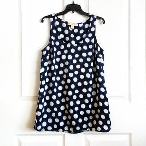 Michael Kors Navy Blue Polka Dot Sleeveless Top